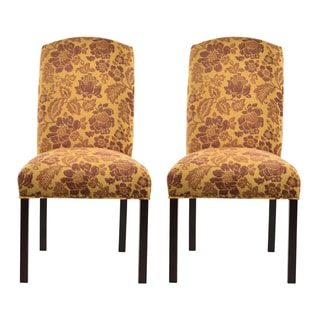 Cortland Honey Camelback Nail Trim Dining Chairs (Set of 2)
