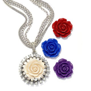 Sweet Romance Romantic Rose Silver Necklace Gift Set