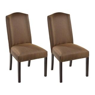 Marbella Mahogany Camelback Nail Trim Dining Chairs (Set of 2)