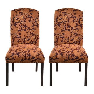 Etro Plums Printed Camelback Nail Trim Dining Chairs (Set of 2)