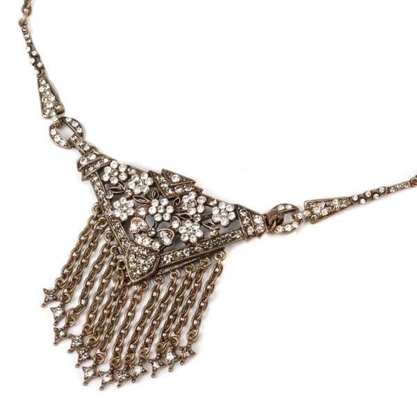 Sweet Romance Art Deco Triangle Fringe Gatsby Necklace