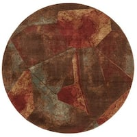 Nourison Somerset Multicolor Abstract Design Rug (5'6 x 5'6) Round - 5'6