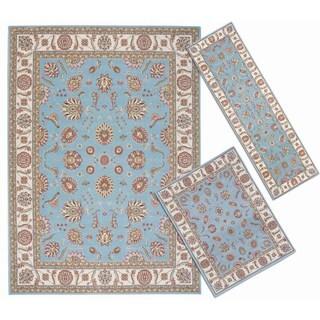 Nourison Persian Floral Collection Blue Rug 3pc Set 2'2 x 7'3, 3'11 x 5'3, 7'10 x 10'6