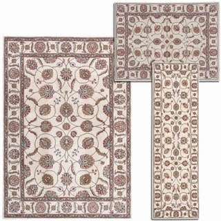 Nourison Persian Floral Collection Ivory Rug 3pc Set 2'2 x 7'3, 3'11 x 5'3, 5'3 x 7'3