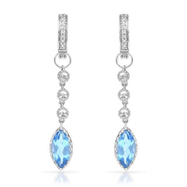 14k White Gold Blue Topaz and Diamond Accent Dangle Earrings