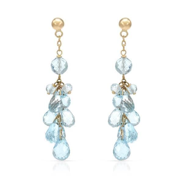 14k Yellow Gold Blue Topaz Chandelier Earrings