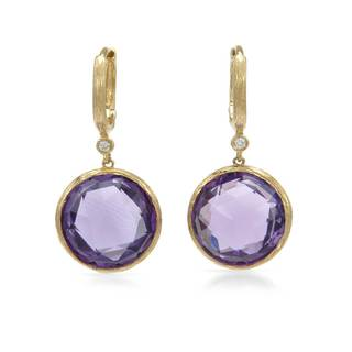 14k Rose Gold Amethyst and White Diamond Accent Earrings
