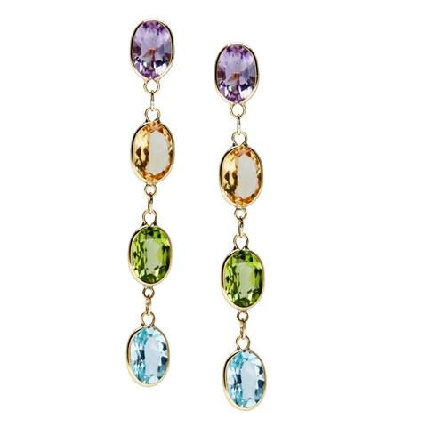 10k Yellow Gold 3 1/10cr TGW Multi-Gemston Earrings
