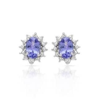 14k White Gold Tanzanite Diamond Accent Earrings