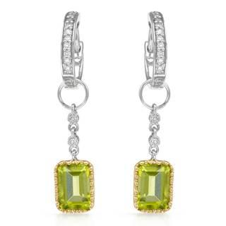 14k Two Tone Peridot Diamond Accent Earrings