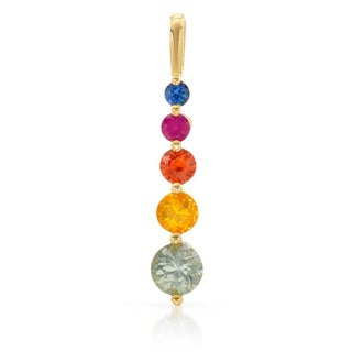 10k Yellow Gold Multi Sapphire Pendant Necklace