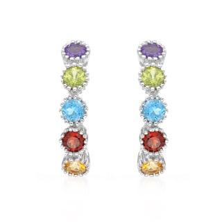 14k White Gold Multi-gemstone Hoop Earrings