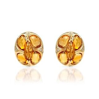 14k Yellow Gold Citrine and 0.011ct TDW White Diamonds Stud Earrings