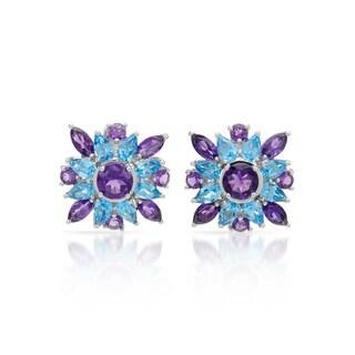 14k White Gold Amethyst and Blue Topaz Earrings
