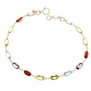 14k Yellow Gold Oval-cut Multi-gemstone Bracelet