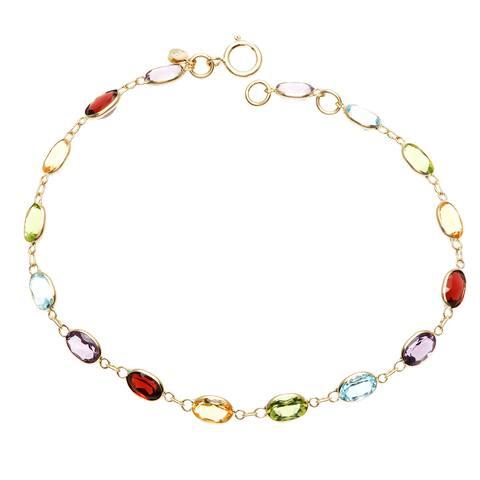 14k Yellow Gold Oval-cut Multi-gemstone Bracelet