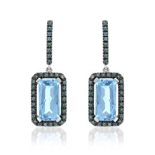 14k White Gold Blue Topaz and Blue Diamond Accents Earrings