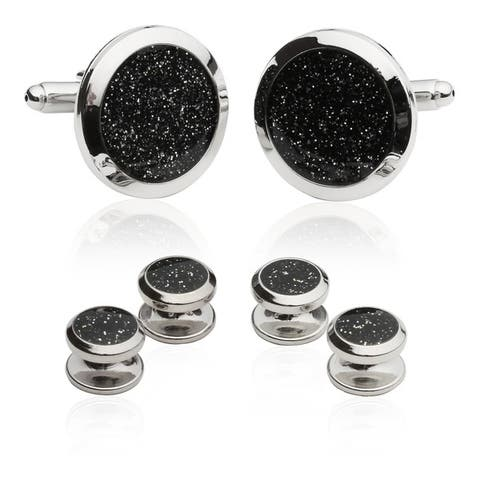 Cuff-Daddy Black Diamond Dust Tuxedo Stud Cuff Links