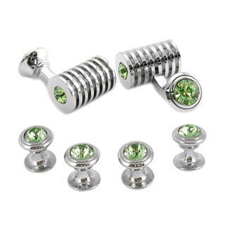 Silver Periodot Austrian Crystal Barrel Formal Cufflinks Studs Set