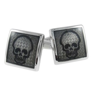 Cuff-Daddy Diamond Plate Skull Cuff Links