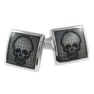 Cuff-Daddy Diamond Plate Skull Cuff Links