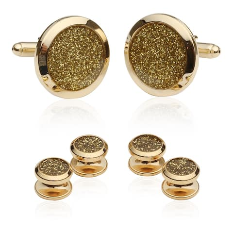Cuff-Daddy Goldtone Diamond Dust Tuxedo Stud Cuff Links