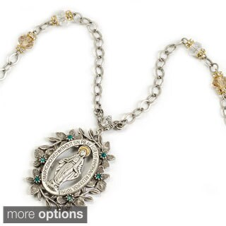 Sweet Romance Virgin Mary Miraculous Medal Vintage French Silver Necklace