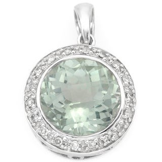 14k White Gold Green Amethyst Diamond Accent Pendant