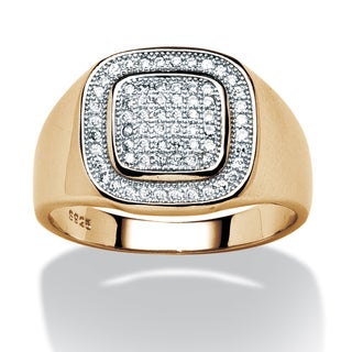 PalmBeach Men's .34 TCW Cubic Zirconia Ring in 18k Gold over Sterling Silver