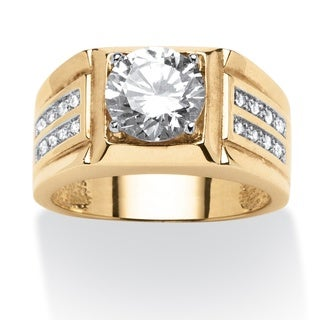 PalmBeach Men's 1.89 TCW Round Cubic Zirconia Ring in 18k Gold over Sterling Silver