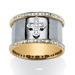 PalmBeach Men's .20 TCW Cubic Zirconia Cross Band in 18k Gold over Sterling Silver and Black Rhodium Plated