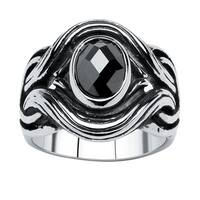 Men's 1.86 TCW Black Oval-Cut Cubic Zirconia Twisted Ring in Antiqued Stainless Steel Size