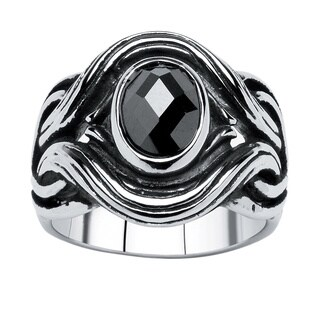 Men's 1.86 TCW Black Oval-Cut Cubic Zirconia Twisted Ring in Antiqued Stainless Steel Size (3 options available)