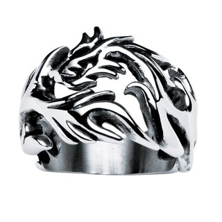 PalmBeach Men's Dragon Cutout Ring in Stainless Steel Sizes 9-16
