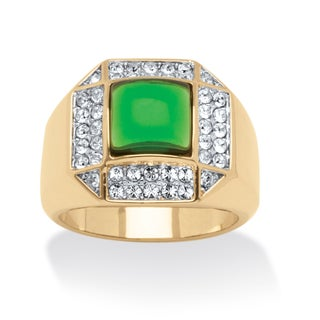 Men's Green Crystal Cabochon Ring 14k Gold-Plated