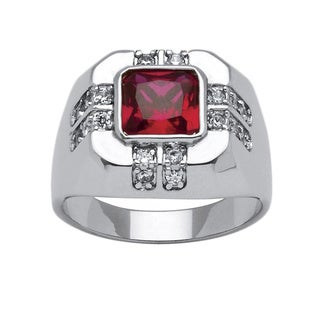 PalmBeach Men's 2.12 TCW Red Cushion-Cut Cubic Zirconia Ring Platinum-Plated