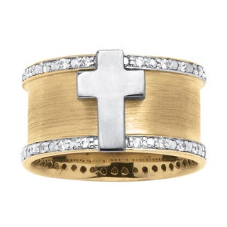 PalmBeach Men's .20 TCW Cubic Zirconia Cross Ring in Two-Tone 18k Gold over Sterling Silver