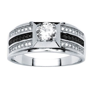PalmBeach Men's .91 TCW Round Cubic Zirconia Ring in Platinum over .925 Sterling Silver