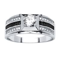Men's .91 TCW Round Cubic Zirconia Ring in Platinum over .925 Sterling Silver