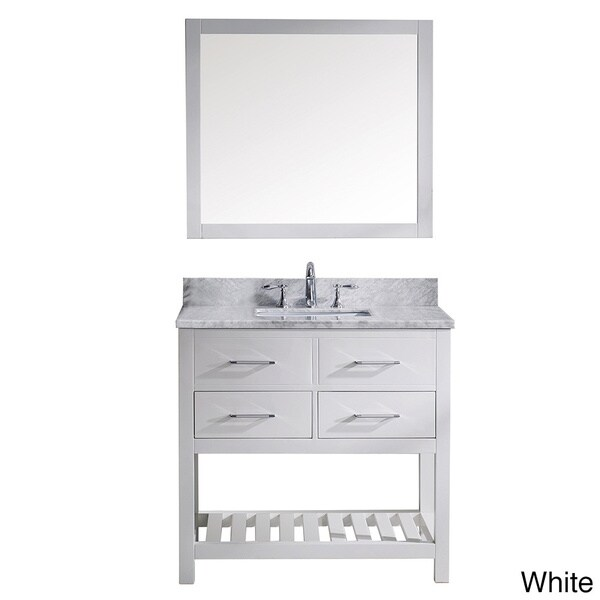 White Single Sink Vanity : ... 36-inch Italian Carrara White Marble Single Sink Bathroom Vanity