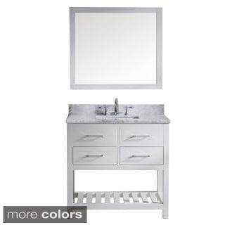 Virtu USA Caroline Estate 36-inch Carrera White Marble Single Sink Bathroom Vanity