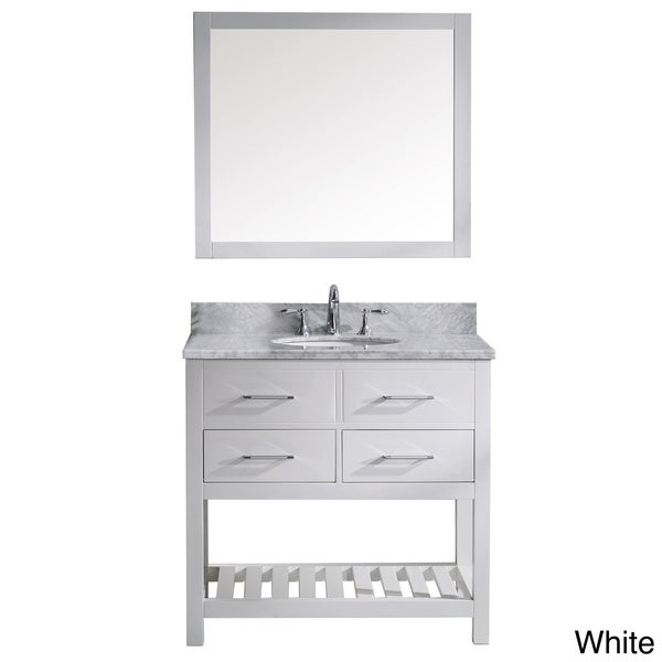 Usa caroline estate 36 inch single sink cabinet only bathroom vanity - London Pearl White Solid Wood 36 Inch Transitional Bathroom Vanity Set