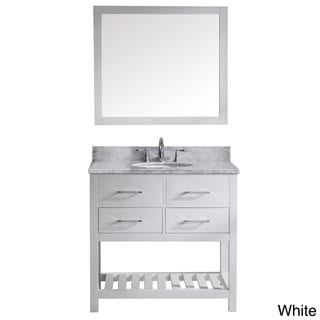 Virtu USA Caroline Estate 36-inch Italian Carrara White Marble Single Sink Bathroom Vanity
