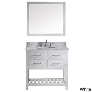 Virtu USA Caroline Estate 36 Inch Italian Carrara White Marble Single Sink  Bathroom Vanity Set
