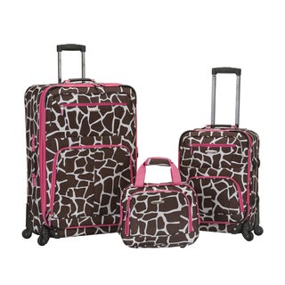 Rockland Deluxe Pink Giraffe Expandable 3-piece Spinner Luggage Set