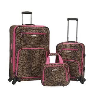 Rockland Deluxe Pink Leopard Expandable 3-piece Spinner Luggage Set