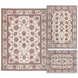 Nourison Persian Floral Collection Ivory Rug 3pc Set 3'11 x 5'3, 5'3 x 7'3, 7'10 x 10'6
