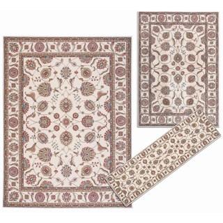 Nourison Persian Floral Collection Ivory Rug 3pc Set 2'2 x 7'3, 5'3 x 7'3, 7'10 x 10'6