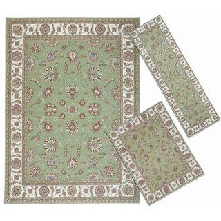 Nourison Persian Floral Collection Green Rug 3pc Set 2'2 x 7'3, 3'11 x 5'3, 7'10 x 10'6