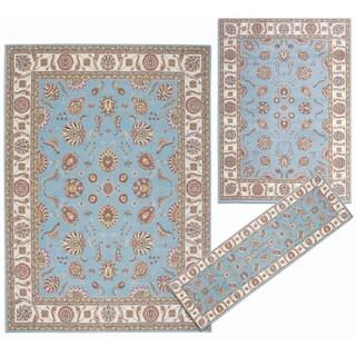 Nourison Persian Floral Collection Blue Rug 3pc Set 2'2 x 7'3, 5'3 x 7'3, 7'10 x 10'6